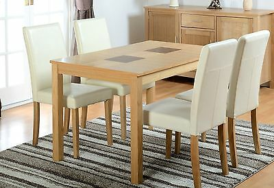NEW Wexford Oak Dining Table And 4 Chairs Set In Cream