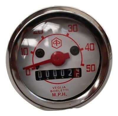 Vespa Small Speedometer 0-50M V50 V90 V100 New Red