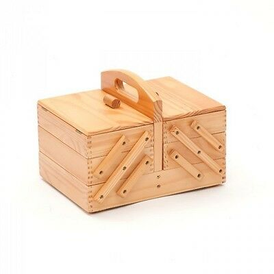 Medium Light Wooden Cantilever, 3 Tier Sewing Craft Basket Box