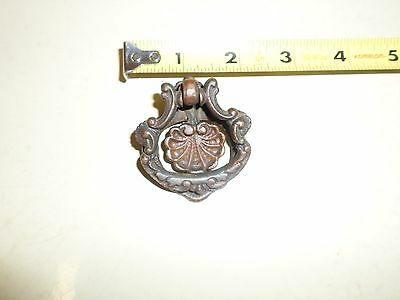 Vintage Brass Ornate Dresser Drawer / Small Door Ring Pull No Screw or Nail #54