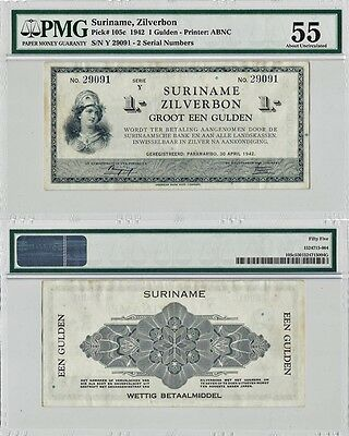 1942 Suriname 1 Gulden Zilverbon Banknote PMG-55 About Uncirculated