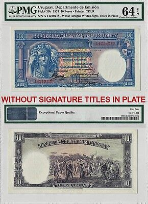 1935 10 Pesos Uruguay Banknote W/Out Sign Titles In Plate PMG 64 Choice Unc. EPQ