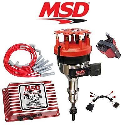 sbf 289 302 msd ignition digital 6al box vacuum pro billet msd ignition kit digital 6al 2 distributor wires coil harness 86