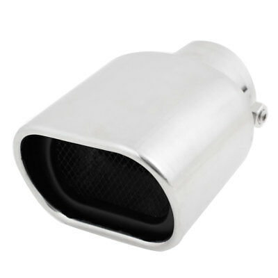 Stainless Steel Slanted Angle Cut Exhaust Muffler Tip Silver Tone for Vehicle