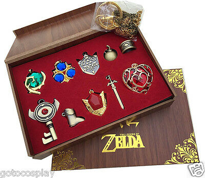 The Legend of Zelda Link Hylian Sword Keychain Necklace 10pcs Collection Set