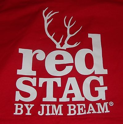 Jim Beam Red Stag Men's T Shirt - Red - Deer Logo - Men's Medium - .NEW