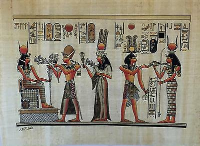 """NEW HAND PAINTED EGYPTIAN PAINTING ON PAPYRUS 12""""x16"""" A56"""