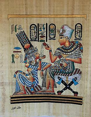 """NEW HAND PAINTED EGYPTIAN PAINTING ON PAPYRUS 12""""x16"""" A58"""