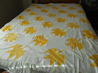 Antique Vintage  Hand Stitched Quilt Top -Yellow And White Leaf Pattern