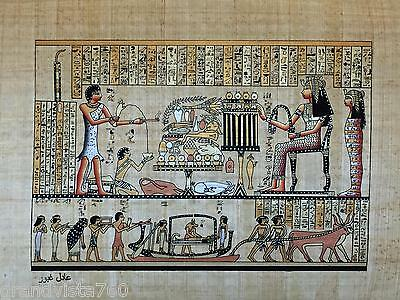 """NEW HAND PAINTED EGYPTIAN PAINTING ON PAPYRUS 12""""x16"""" A73"""