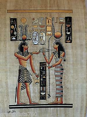 """NEW HAND PAINTED EGYPTIAN PAINTING ON PAPYRUS 12""""x16"""" A74"""