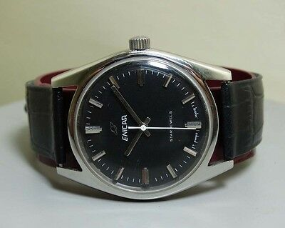 VINTAGE Enicar WINDING Swiss Made OLD USED WRIST WATCH Antique E35 BLACK DIAL
