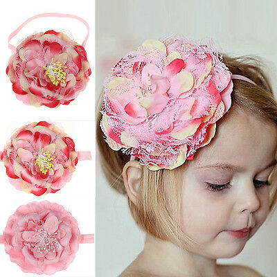 Kids Baby Girls Infant Toddlers Flower Headband Hair Bow Band Head Accessories