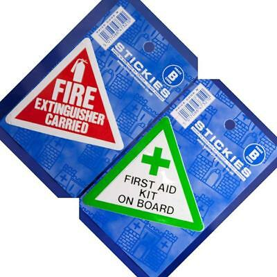 FIRE EXTINGUISHER CARRIED + FIRST AID KIT ON BOARD - 2x VINYL STICKERS - 80x68mm