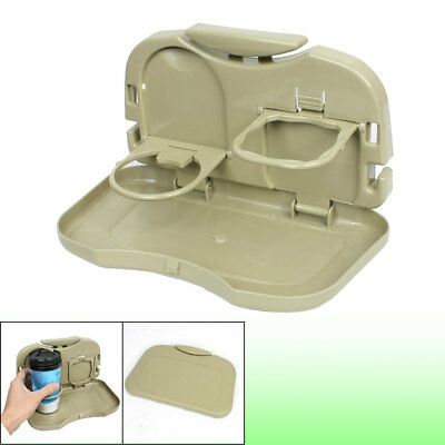 Auto Car Backseat Khaki Plastic Drink Cup Holder Dinner Table Food Tray
