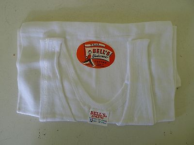 Vintage 60s unused boys athletic singlet underwear Bells NOS tags 10 - 12 yo