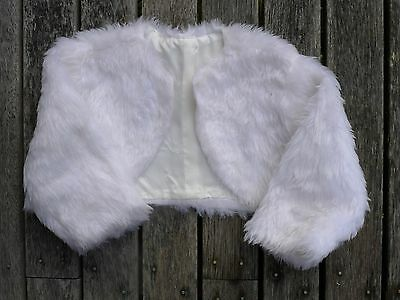 Vintage retro 70s 1 yo unused white faux fur girls bolero jacket coat NOS as new