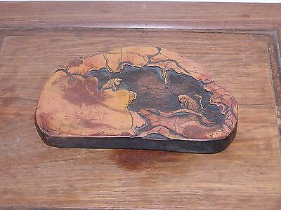 Chinese Yellow Mud Ink Stone, Carved and Signed