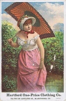 Hartford One-Price Clothing Co,Huge Victorian Trade Card 2nd version