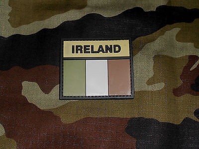 Irish / Ireland Rubberised Subdued Flag Hook And Loop Type Backed Patch - New