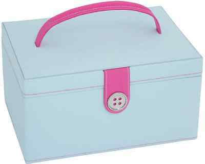 NEW Button It 82226 Blue Pink Dot Lining Sewing Storage Box 24cm x 17cm x 12½cm