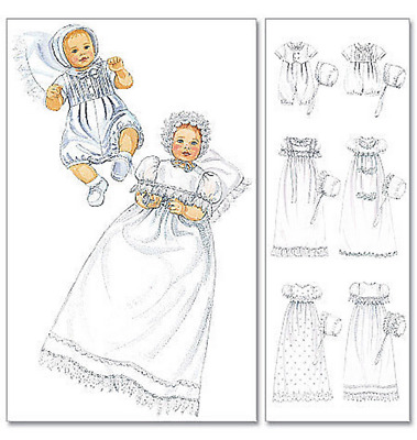 McCalls Infant Sewing Pattern 6221 Christening Gown Rompers Snap Crotch Bonnets
