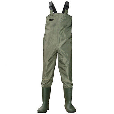 Green Nylon Chest Waders 100% Waterproof Fly Coarse Fishing Muck Wader