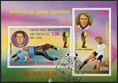 Equatorial Guinea 1974 World Cup Football Cto Used Imperf M/S #A92704