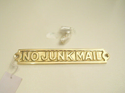 Solid Brass No Junk Mail Door Sign Plaque Wall Hanging Collectible Decor New