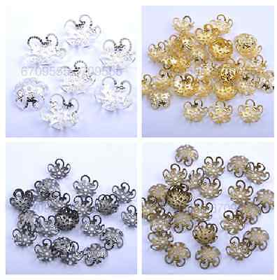 100PCS Gold/Silver Plated Hollow Out Flower Shape Bead Caps 10MM