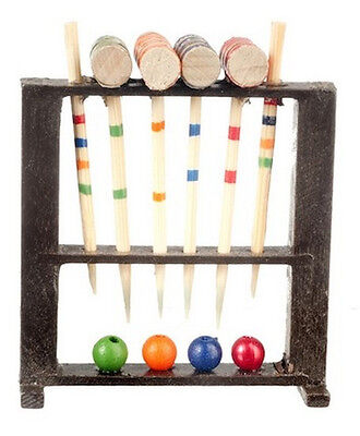 Croquet Set, Dolls House Miniature, Toys Outdoor 1/12 scale, Games, Garden