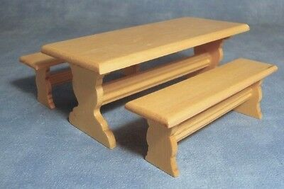 Table & Two Benches, Dolls House Miniature Pub / Kitchen, Bench 1.12th Scale