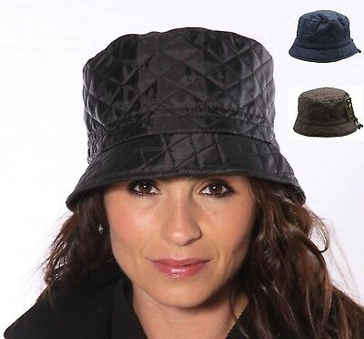 Black Bush Hat Bucket Showerproof Navy Quilted Rain Proof Winter Ladies Women