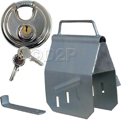 Anti-Theft Hitch Lock Cover + Padlock Hitchlock Trailer Box Coupling Universal