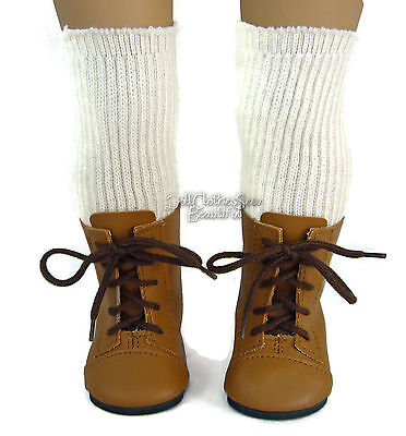 Tan 1800 Boots + Thigh High Socks made for American Girl Kirsten Doll Clothes