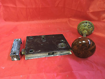 Antique Rim Lock Door Knob Set Lock Box Brass Ornate + Brown Swirl Porcelain
