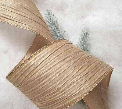 1m  65mm WIRED NATURAL HESSIAN TYPE SPARKLY MERRY CHRISTMAS  RIBBON GREY & WHITE