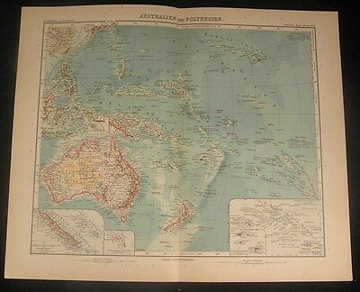 Australia & Polynesia 1907 Stieler old vintage large detailed color map