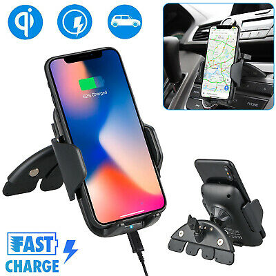 Fast Qi Wireless Car Charger CD Slot Mount Holder for Samsung S9 S8 iPhone X 8 7