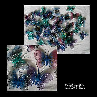 Butterfly 9cm BULK 50 butterflies MYSTIC Blue Purple Pink etc Glitter wholesale