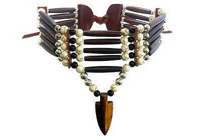 Native American Style 5 Row Buffalo Bone Hairpipe and Arrowhead Choker Necklace