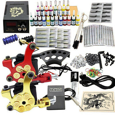 Complete Tattoo Kit 2 Pro Machine Guns 20 Inks Power Supply Needle Grips