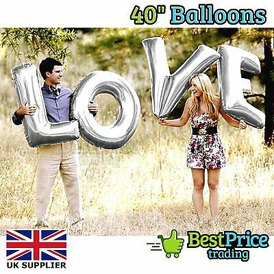 "BEST QUALITY Silver 40"" LOVE Helium Foil Balloons *Wedding *Valentine's Day"