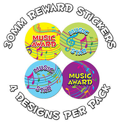 144 x Music Awards 30mm Child Reward Stickers - Schools, learning incentive