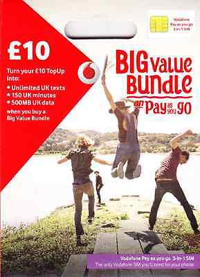 UK Vodafone Official Pay As You Go SIM Card with £10 (3-in-1 SIM for all phones)