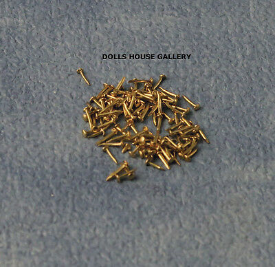 Brass Nails 4mm 100 Pack, Dolls House Miniatures, 1.12 Scale DIY