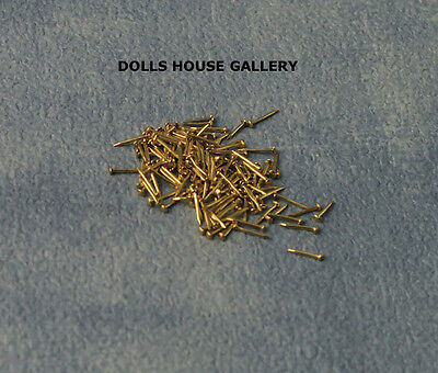 Brass Nails 6mm 100 Pack, Dolls House Miniatures, 1.12 Scale DIY