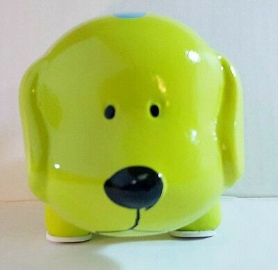 Lime Green Mini Ceramic Dog Piggy Bank Large Slot Coins Bills Money Save