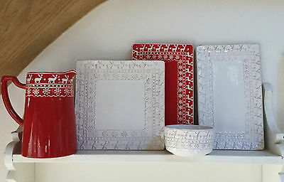 Red / White Reindeer Snowflake Christmas Serving Plate Dish Gisela Graham Square