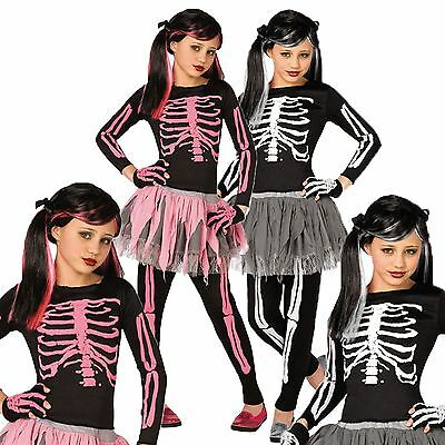 Childrens Girls Skeleton Bones Halloween Fancy Dress Costume Horror Party Outfit
